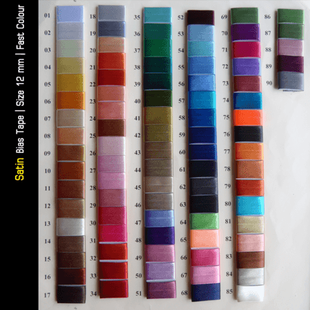 Bias Tape Color Sample Chart  Material: Satin