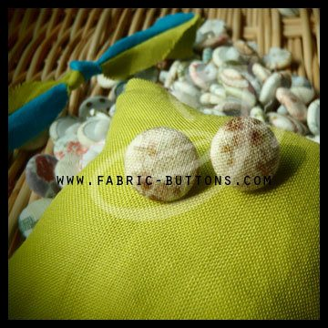 Fabric Button  Pattern: flower Color: white/brown  Made to order with no minimum amount.