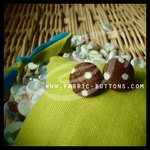 Fabric Button  Pattern: polka dot Color: white/brown  Made to order with no minimum amount.