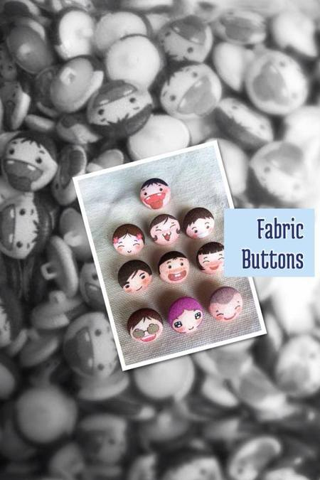 This set of fabric-covered buttons was made to order for making bookmarks.